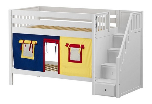 Caleb's White Playhouse Kids Twin Size Bunk Beds with Stairs