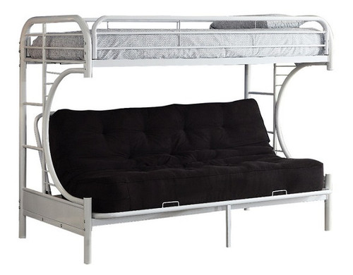 Cabot White Twin XL over Queen Futon Bunk Bed couch with cushion