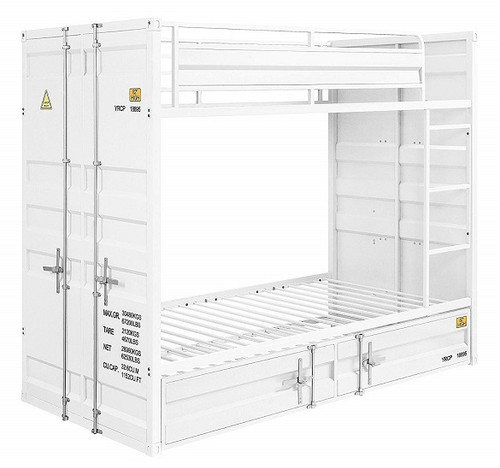 Shipping Container White Metal Bunk Beds twin over twin