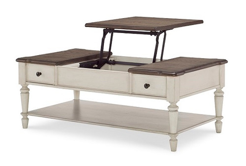 Westport Weathered White Farmhouse Coffee Table Lift Top Up