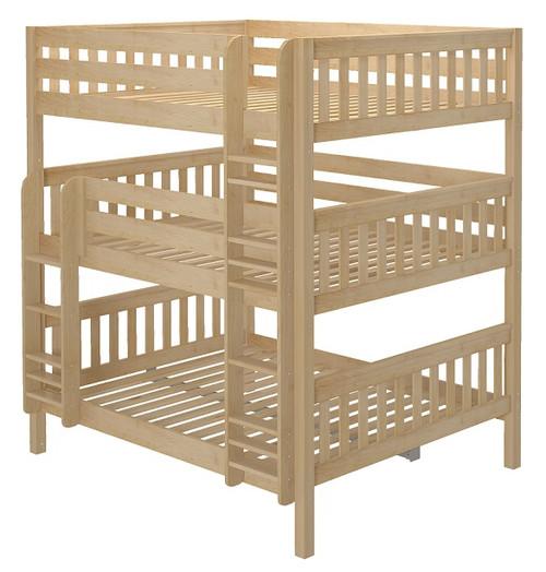 Leta Natural Queen Triple Bunk Bed
