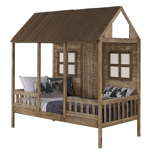 Front Porch Weathered Wood Twin House Bed