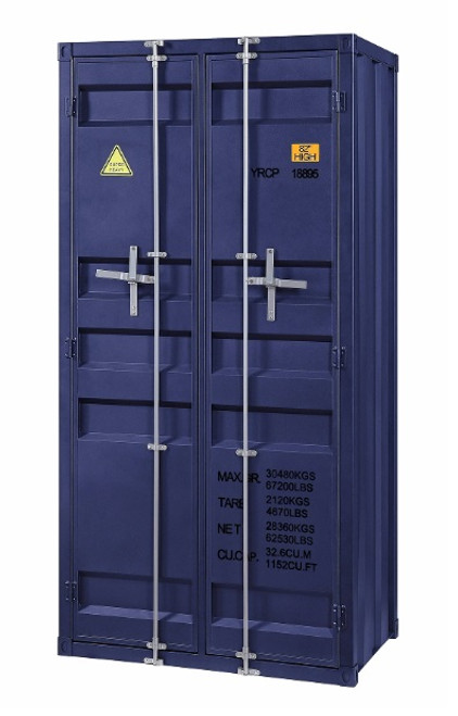 Shipping Container Blue Metal Storage Cabinet angled