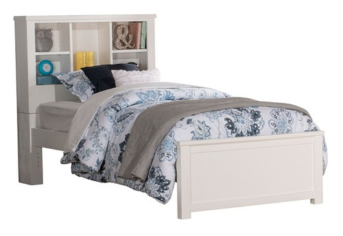 Iris Brushed White Twin Bookcase Bed