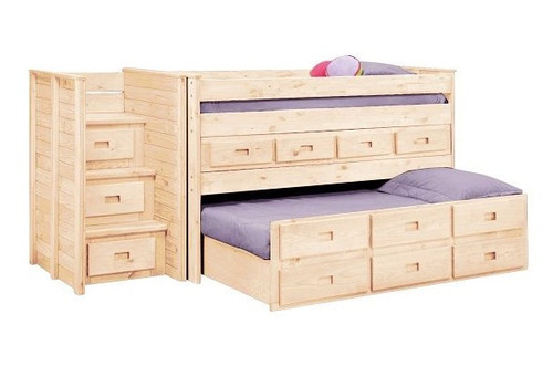 Duke Unfinished Low Loft Bed with Stairs and Storage twin