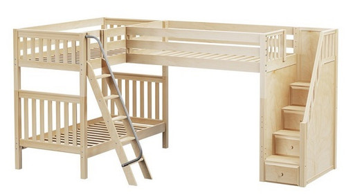 Elkhart Natural Twin Size Sleeps 3 or More Bunk Beds with Stairs