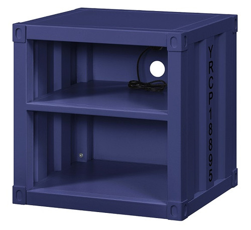 Shipping Container Blue Metal Nightstand angle