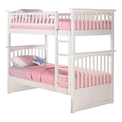 Cardiff White Bunk Beds Twin over Twin