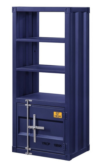 Shipping Container Blue Metal Bookcase angle