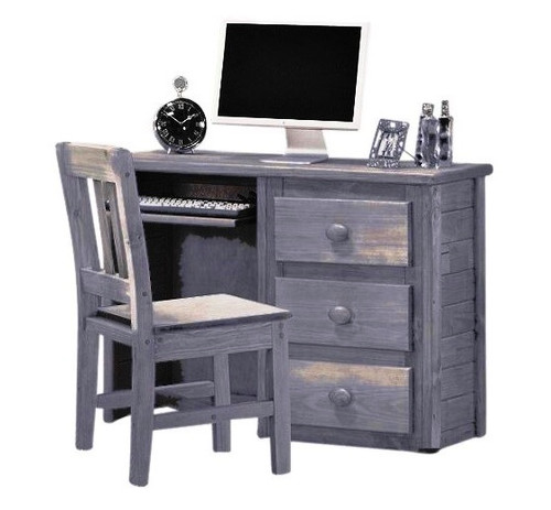 Tribeca Distressed Desk Chair shown with Optional Student Desk Distressed Walnut