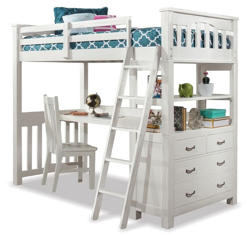 Iris Brushed White Loft Bed with Desk twin size