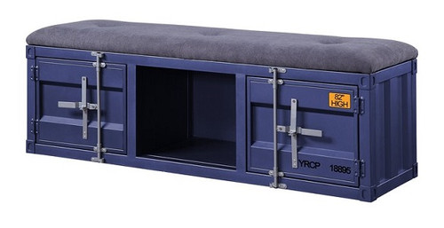 Shipping Container Blue Metal Bench angle