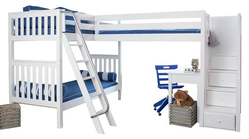 Elkhart White Twin Size Sleeps 3 or More Bunk Beds with Stairs