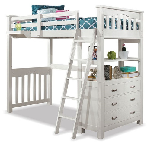 Iris Brushed White Loft Bed with Storage twin