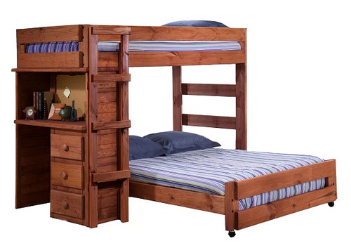 Rush River Mahogany Twin over Full Loft Bed with Desk