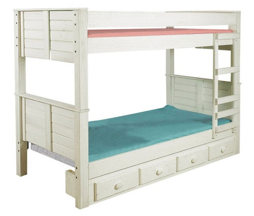 Thea Distressed Cottage Bunk Beds shown with Optional Set of 4 Storage Drawers