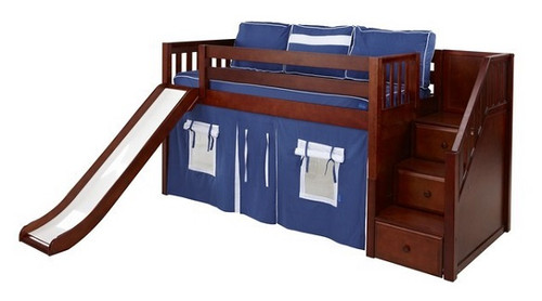 Buckingham Chestnut Fort Boys Twin Low Loft Bed with Stairs