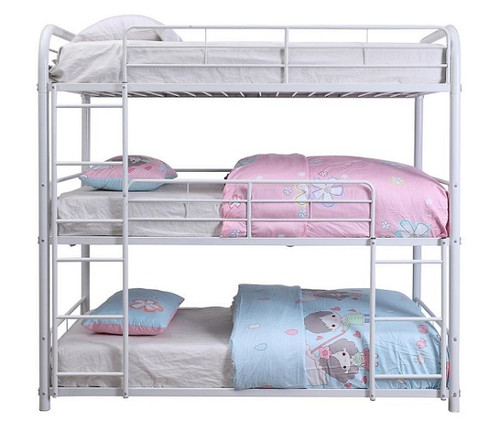 Hannah White Metal Triple Full Bunk Bed