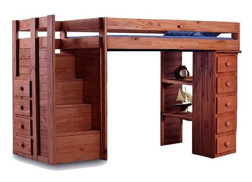 Hemet Mahogany Twin Storage Loft Bed with Steps