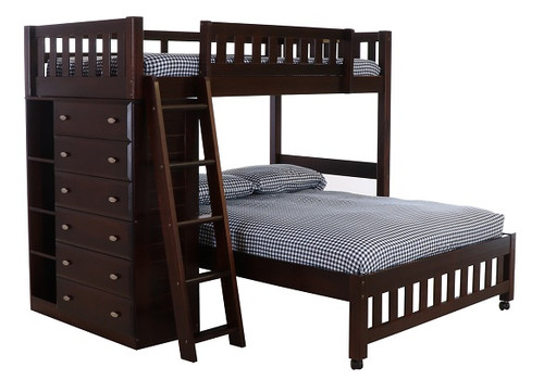 Huntington Espresso Twin over Full L Shaped Bunk Bed left angle