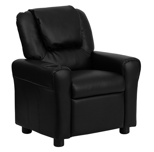 Child Recliner Leather with Headrest Black