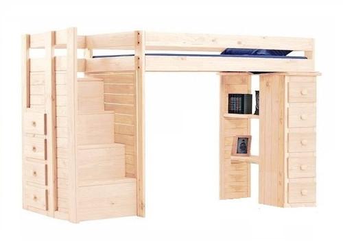 Hemet Unfinished Twin Storage Loft Bed with Steps
