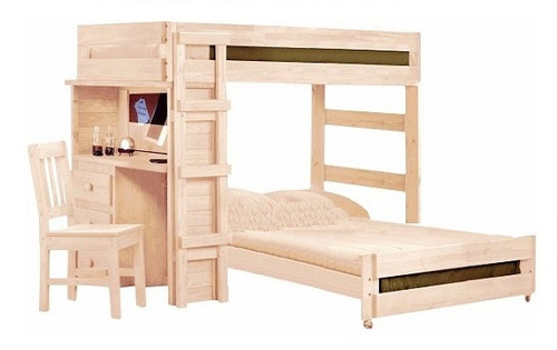 Rush River Unfinished Twin XL over Full XL Loft Bed with Desk