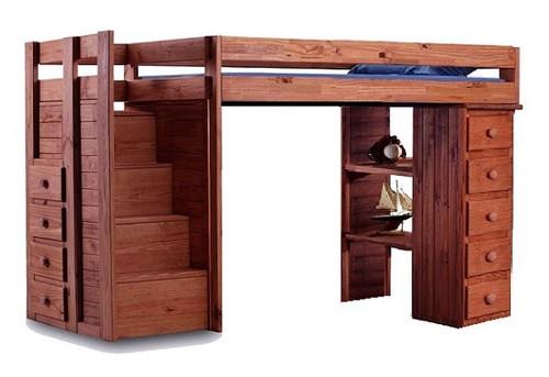 Hemet Mahogany Extra Long Twin Storage Loft Bed with Steps