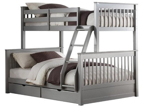 Fairen Gray Twin over Full Bunk Bed with Storage