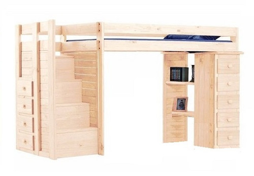 Hemet Unfinished Extra Long Twin Storage Loft Bed with Steps