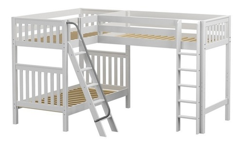 Annapurna White Sleeps 3 Twin Loft Bunk Bed-Slatted Ends