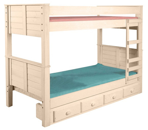 Thea Unfinished Extra Long Cottage Bunk Beds shown with Optional Set of 4 Storage Drawers