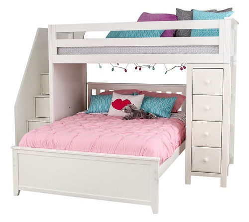 Chelsea White Twin over Full L Shaped Bunk Beds with Storage