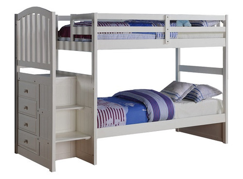 Richmond Beach Twin over Twin White Bunk Beds with Stairs
