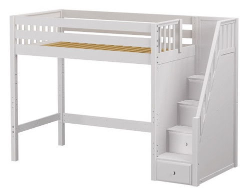 Hayes White Twin XL Loft Bed with Stairs Slatted End
