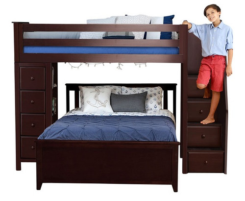 Silas Espresso Twin over Full L Shaped Bunk Beds with Storage