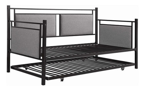 Reid Black Twin Upholstered Metal Daybed with Trundle no bedding
