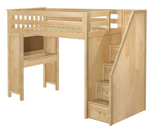 Delaney Natural Twin Loft Bed with Stairs and Desk