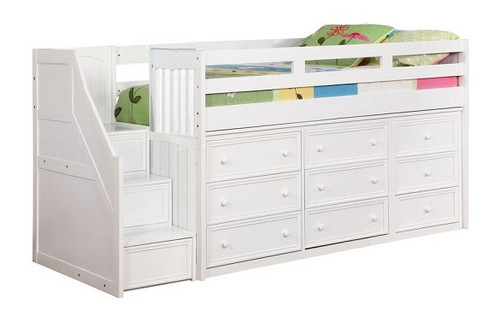 Tulsi White Storage Twin Low Loft with Stairs
