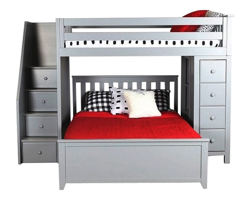 Almere Gray Twin over Full L Shaped Bunk Beds with Storage
