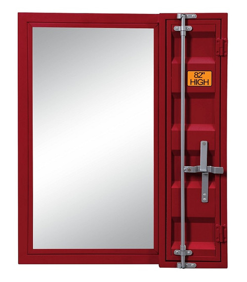 Shipping Container Red Metal Vanity Mirror