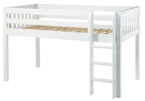 Lily White XL Low Loft Bed twin slatted ends