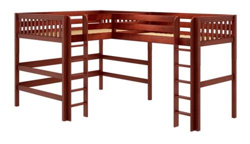 Sloane Chestnut Queen Twin XL L Shaped Loft Bed