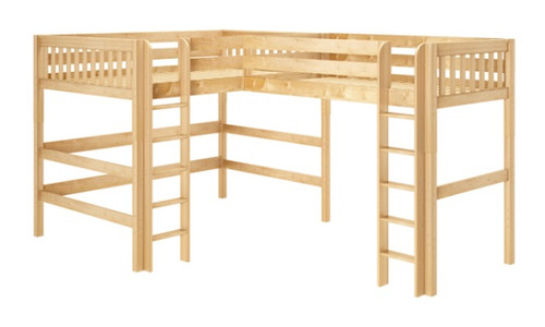 Sloane Natural Queen Twin XL L Shaped Loft Bed