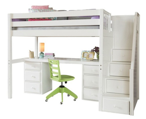 Haylee White Twin Loft Bed with Stairs and Desk