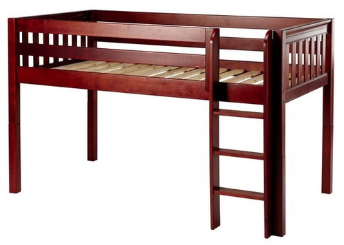 Theo Chestnut Twin XL Low Loft Bed Slatted Ends