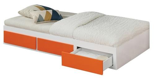 Bixby White and Orange Twin Platform Bed with Storage