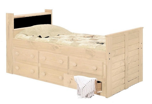 Duke Unfinished Bookcase Captains Bed twin size