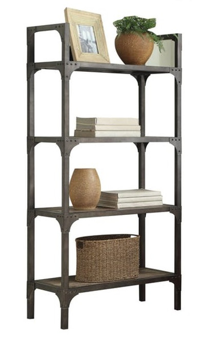 Karl Driftwood Metal and Wood Bookcase
