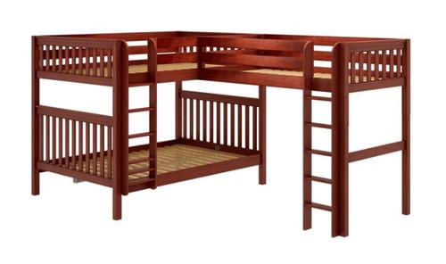 Darby Chestnut Queen over Queen with Twin XL Loft Bunk Beds